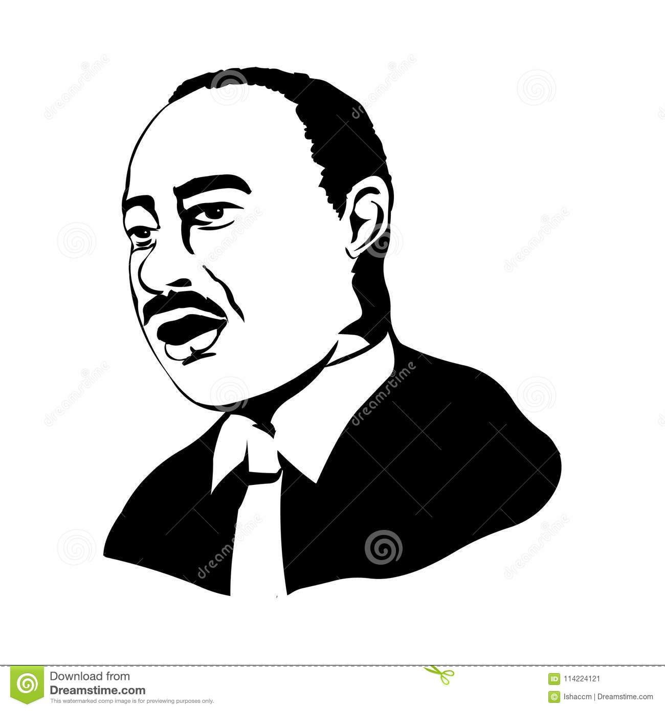 Van Martin Luther King Vectorportret van Martin Luther King Jr