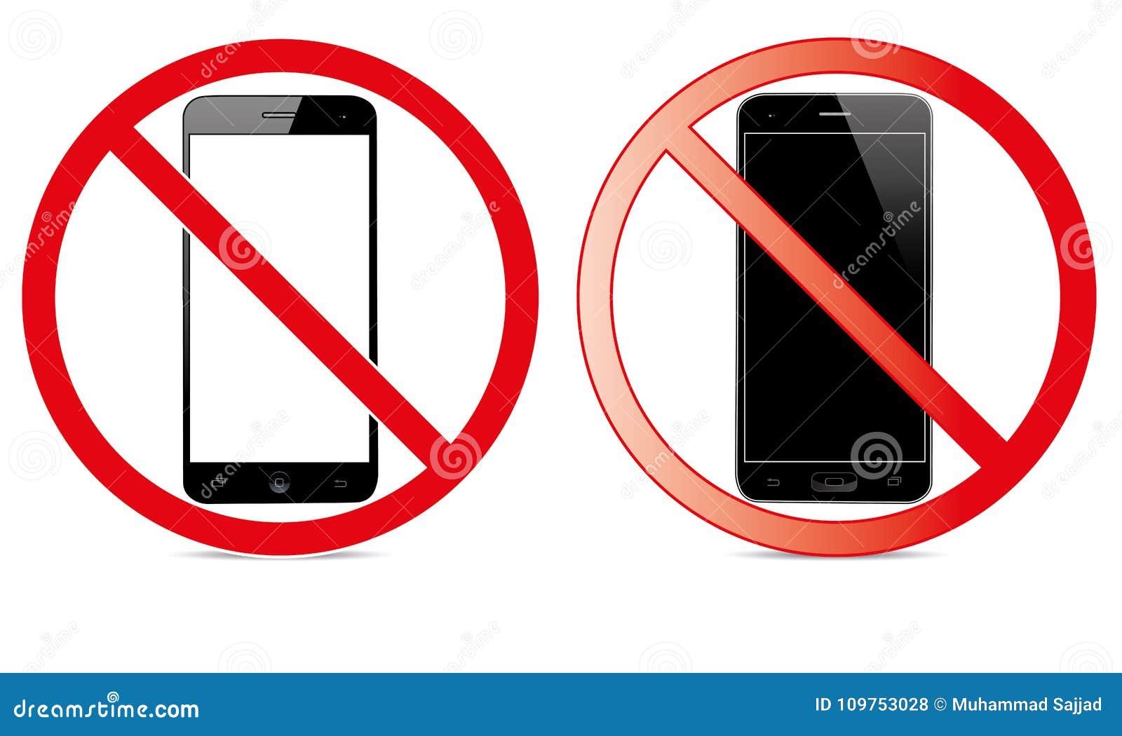 Van Mobiel Teken schakel Telefoonpictogram uit Geen Telefoon Toegestaan Mobiel Waarschuwingssymbool