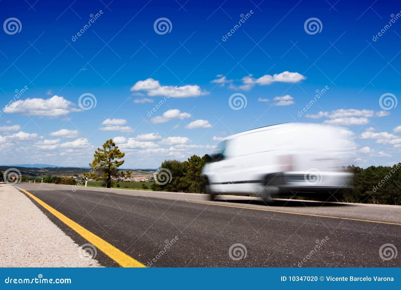 Van in the road