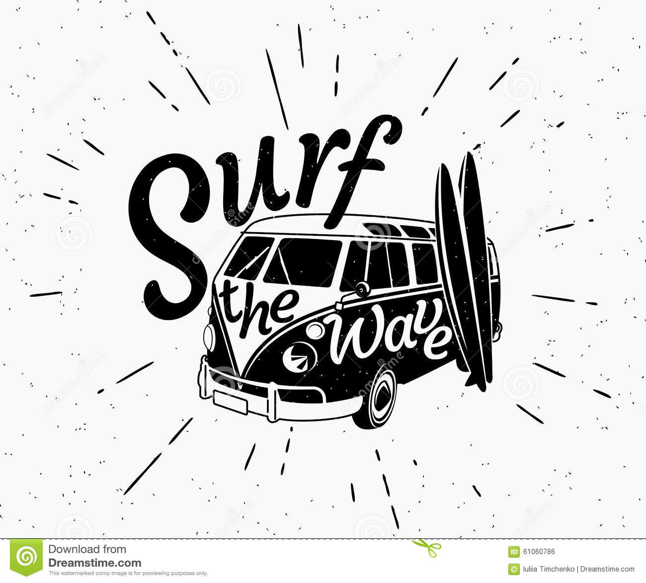 Van Surf Retro Black And White Illustration Stock Vector - Image ...