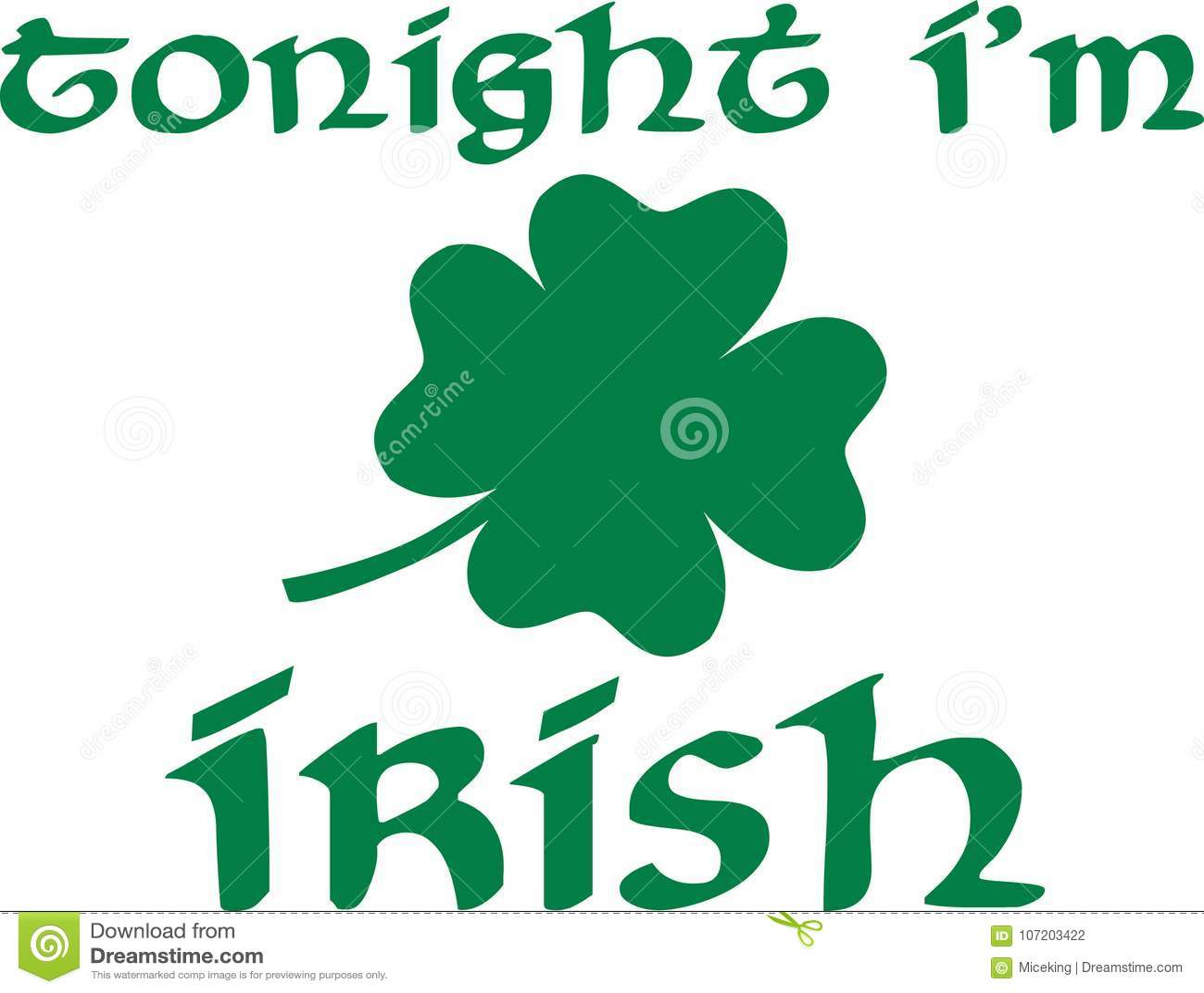 Vanavond I ` m het Iers op St Patrick ` s Dag