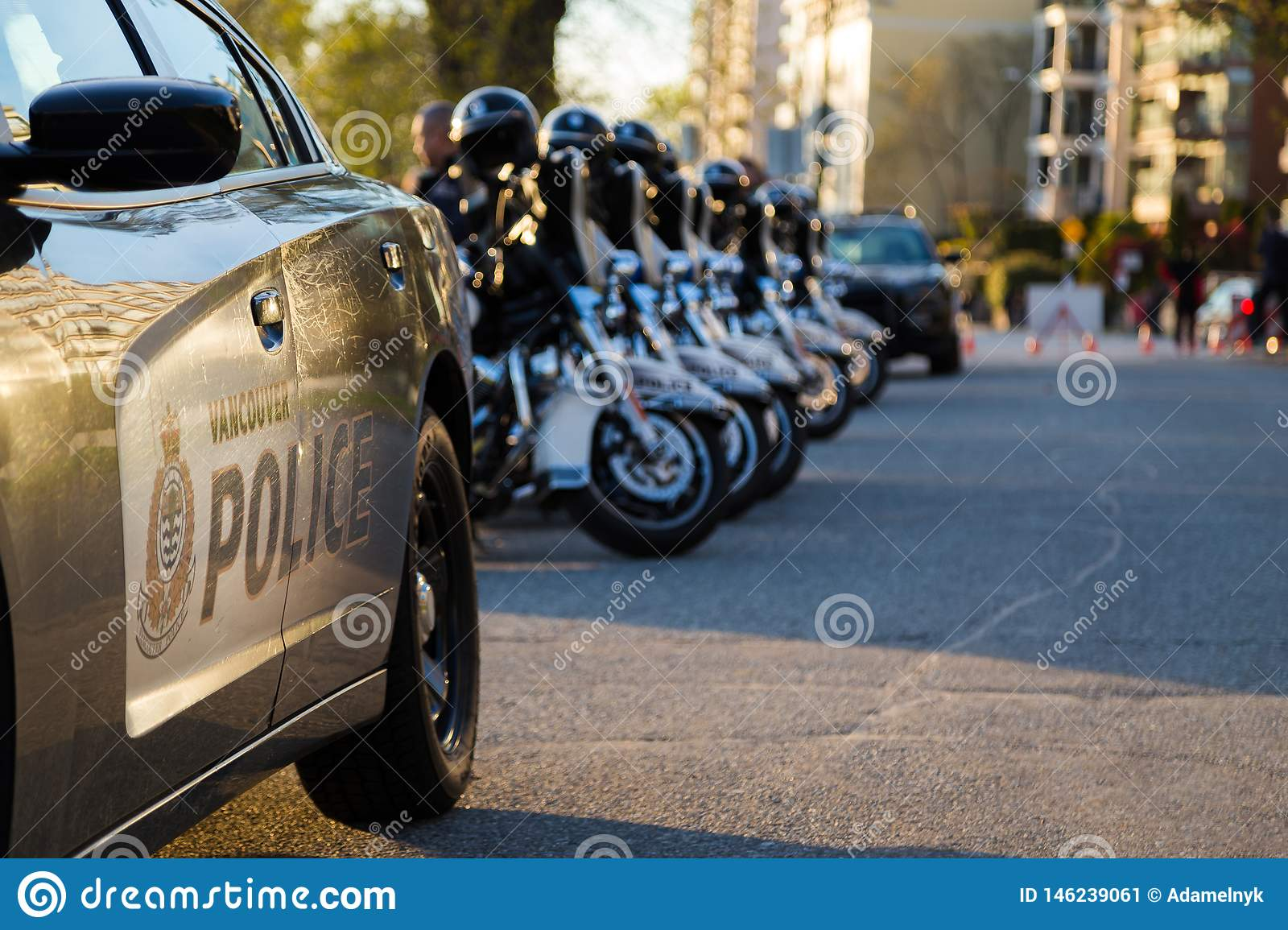 VANCOUVER, BC, CANADA - APR 20, 2019: VPD Motorcycles And