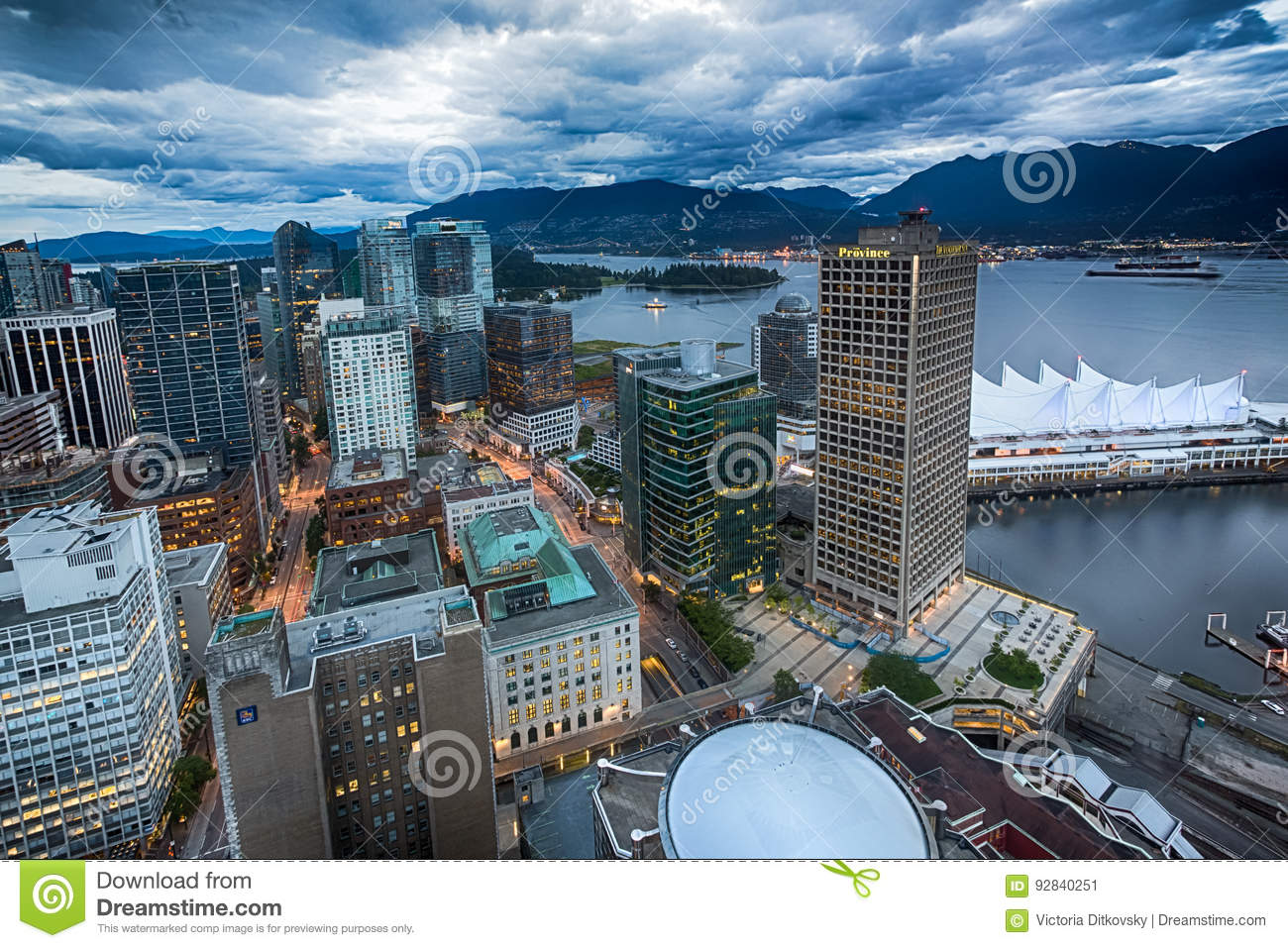Vancouver Bc Downtown Overlook Editorial Photo Image Of