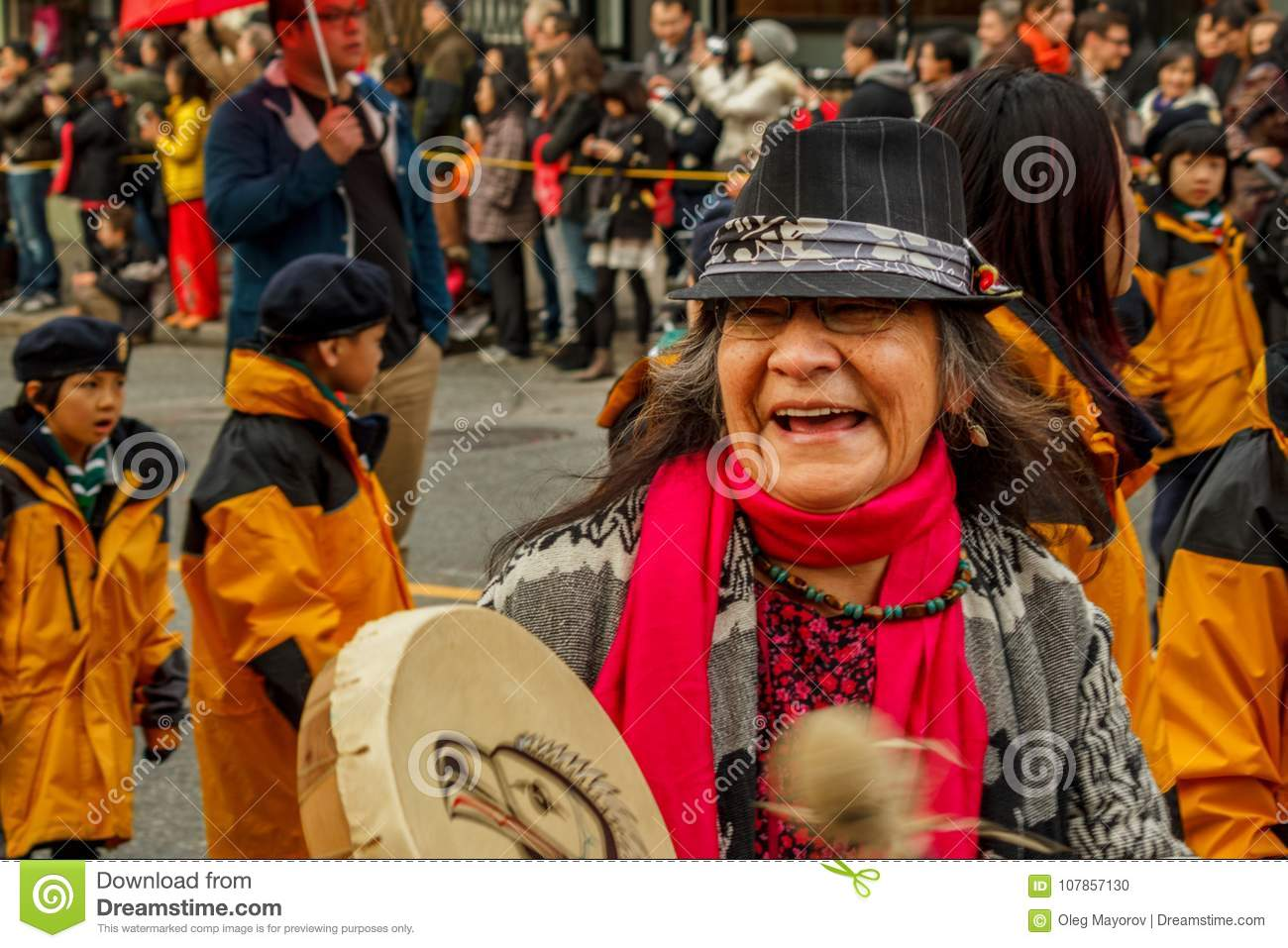 VANCOUVER, CANADA - February 2, 2014: First Nations Women ...