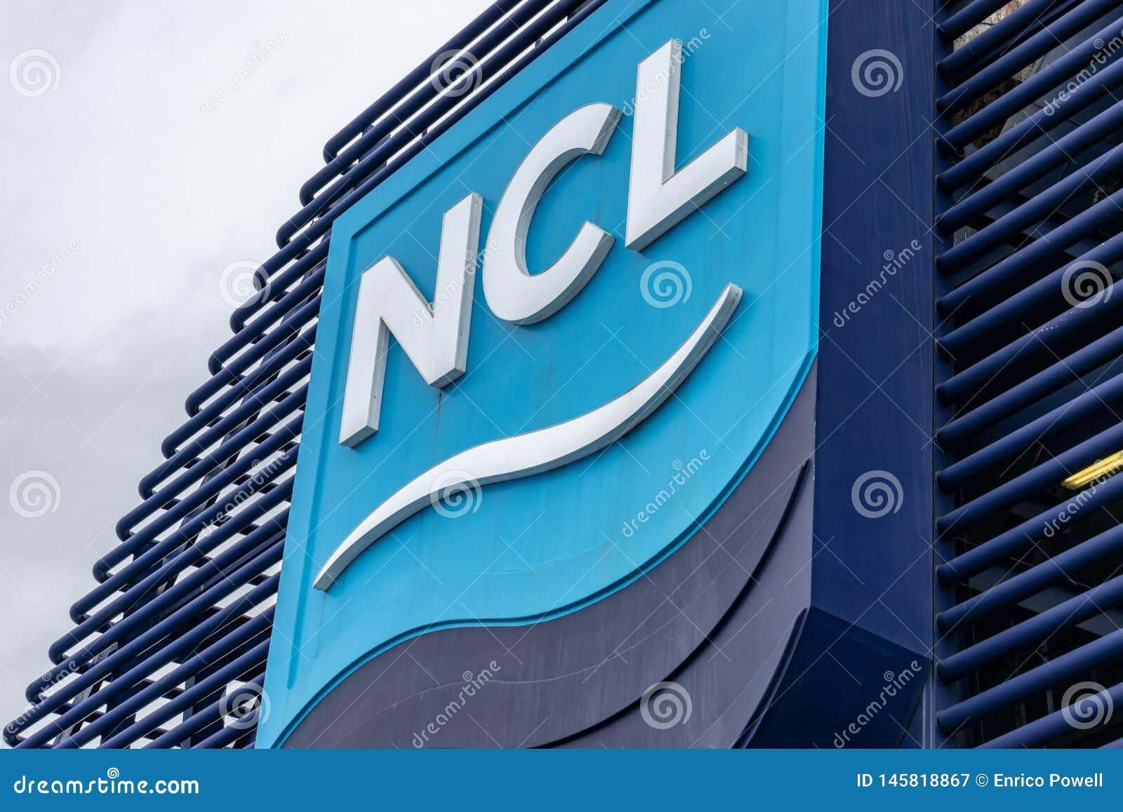 Norwegian Cruise Line NCL logo/sign/emblem on Norwegian Star Cruise Ship