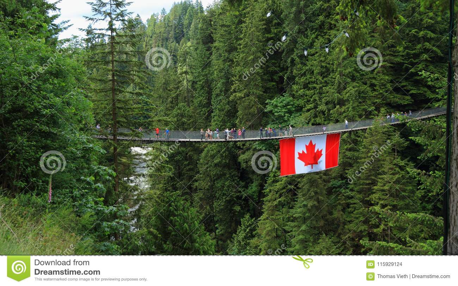 Vancouver, Canada : Tourisme - pont suspendu de Capilano avec le drapeau canadien