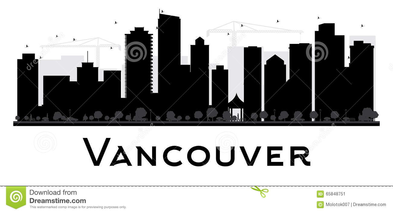 Vancouver City Skyline Black And White Silhouette