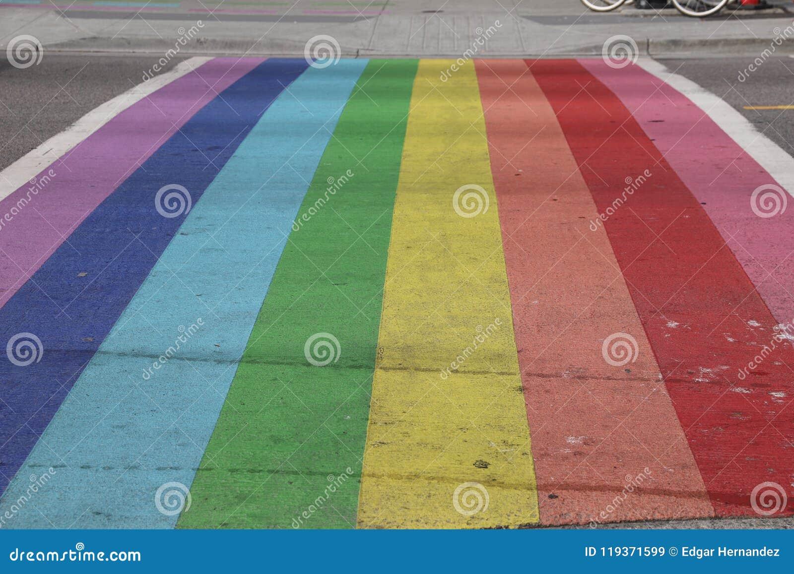 Vancouver Davie Village Rainbow Crosswalk