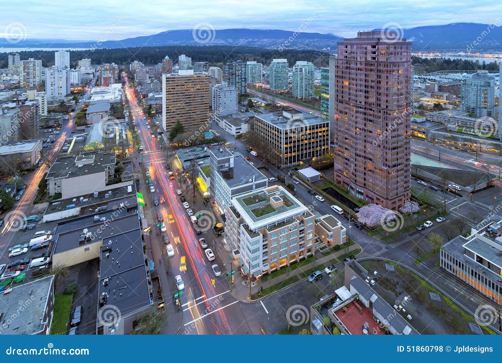 Vancouver F. KR. Cityscape på skymning