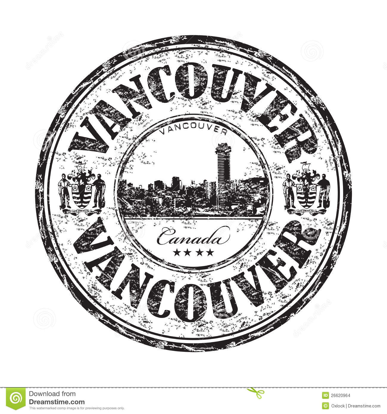 vancouver grunge rubber stamp stock images