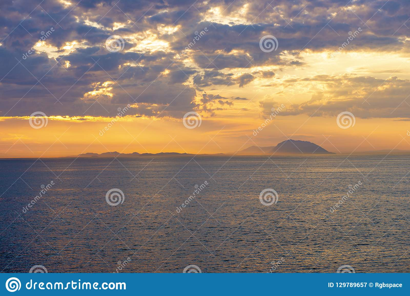 Vancouver Island And Gulf Islands From The Ocean At Sunset