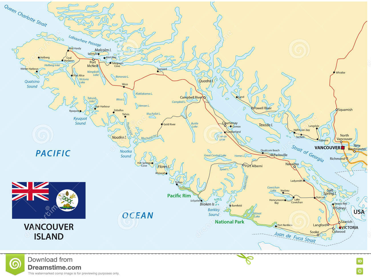 Vancouver Island Map With Flag Stock Vector Illustration Of Vector