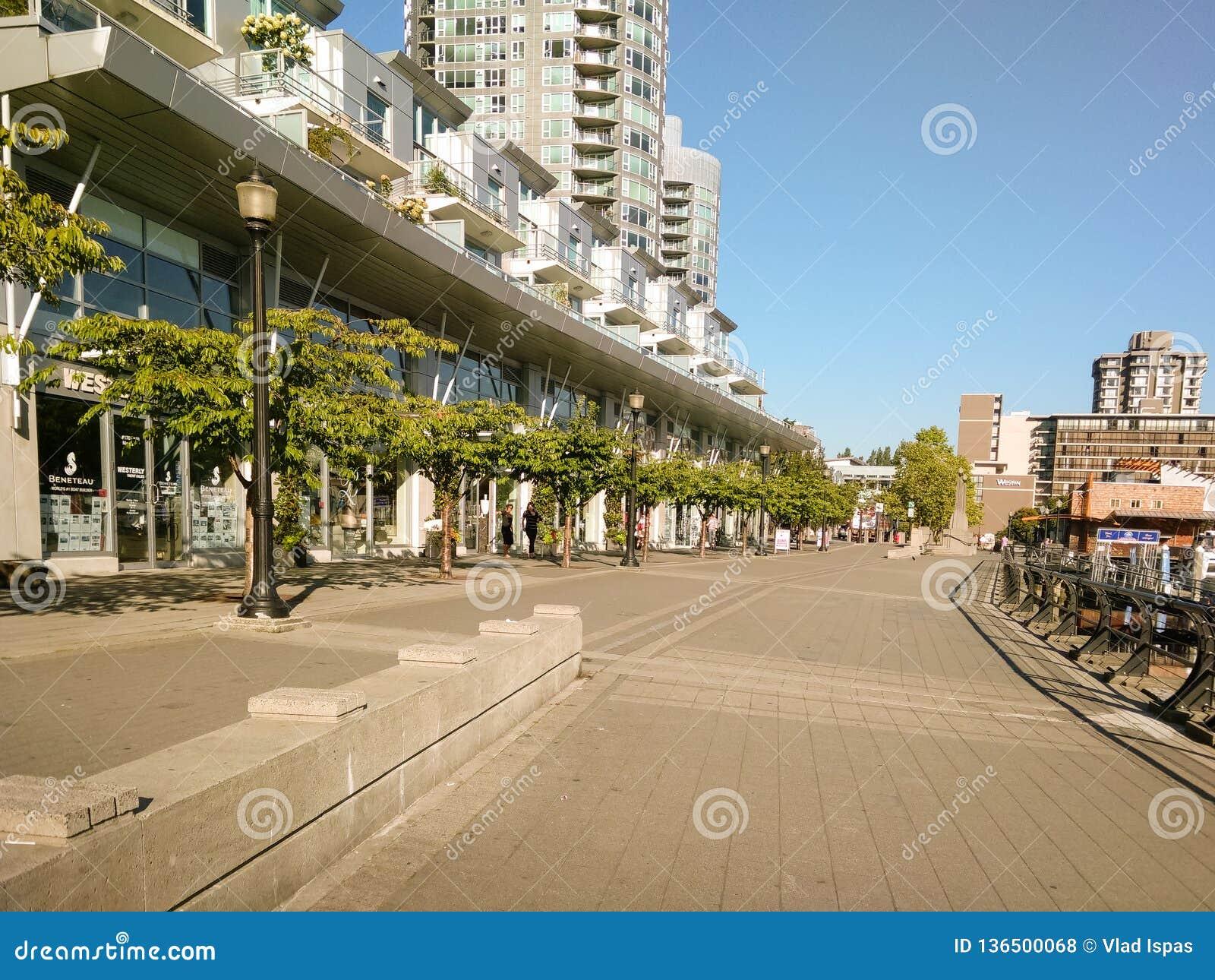 Vancouver Kanada - 2018 Loppfoto av den Vancouver staden, en av de viktiga städerna av Kanada