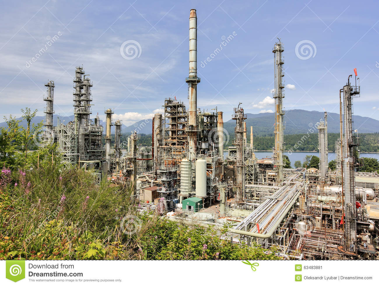 Vancouver oil refinery stock image  Image of clouds