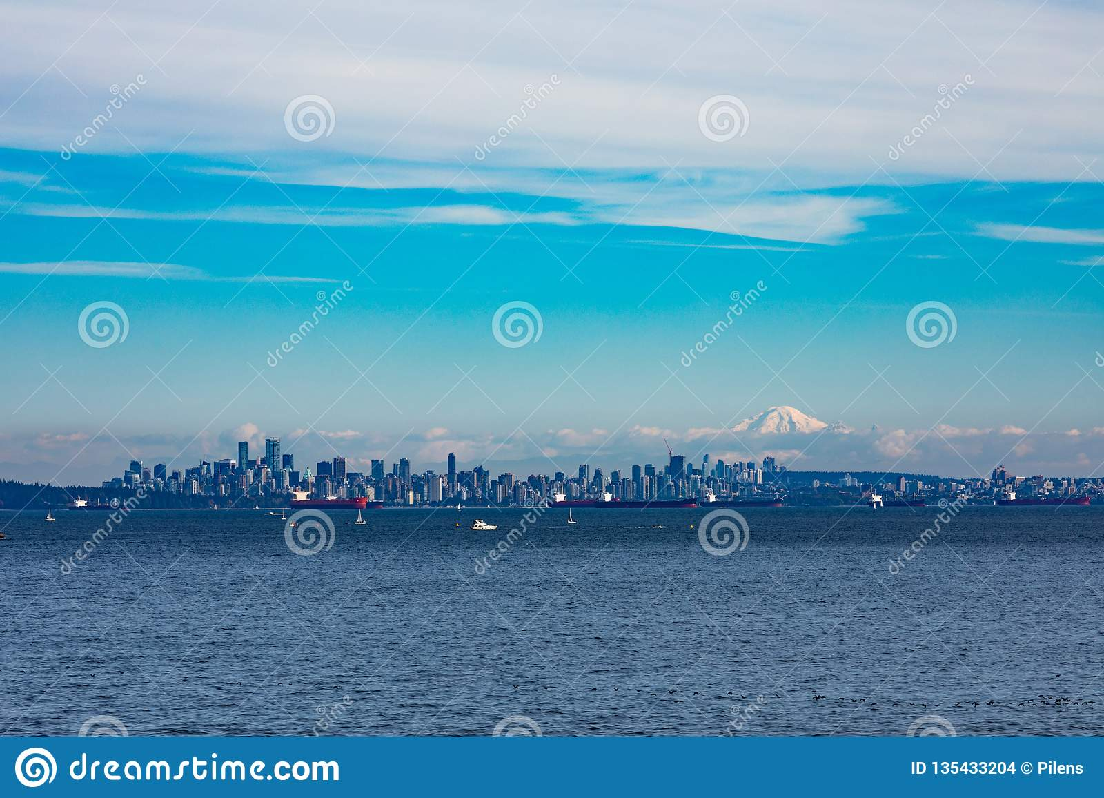 Vancouver Skyline And Oil Tankers BC Canada Stock Photo