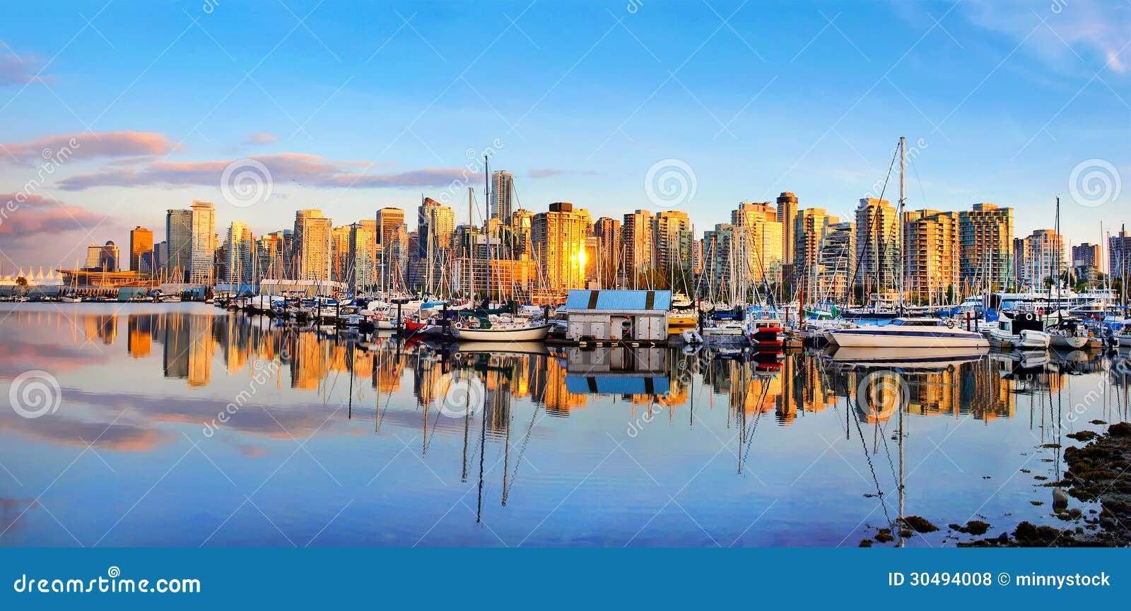 Vancouver skyline panorama at sunset, British Columbia, Canada