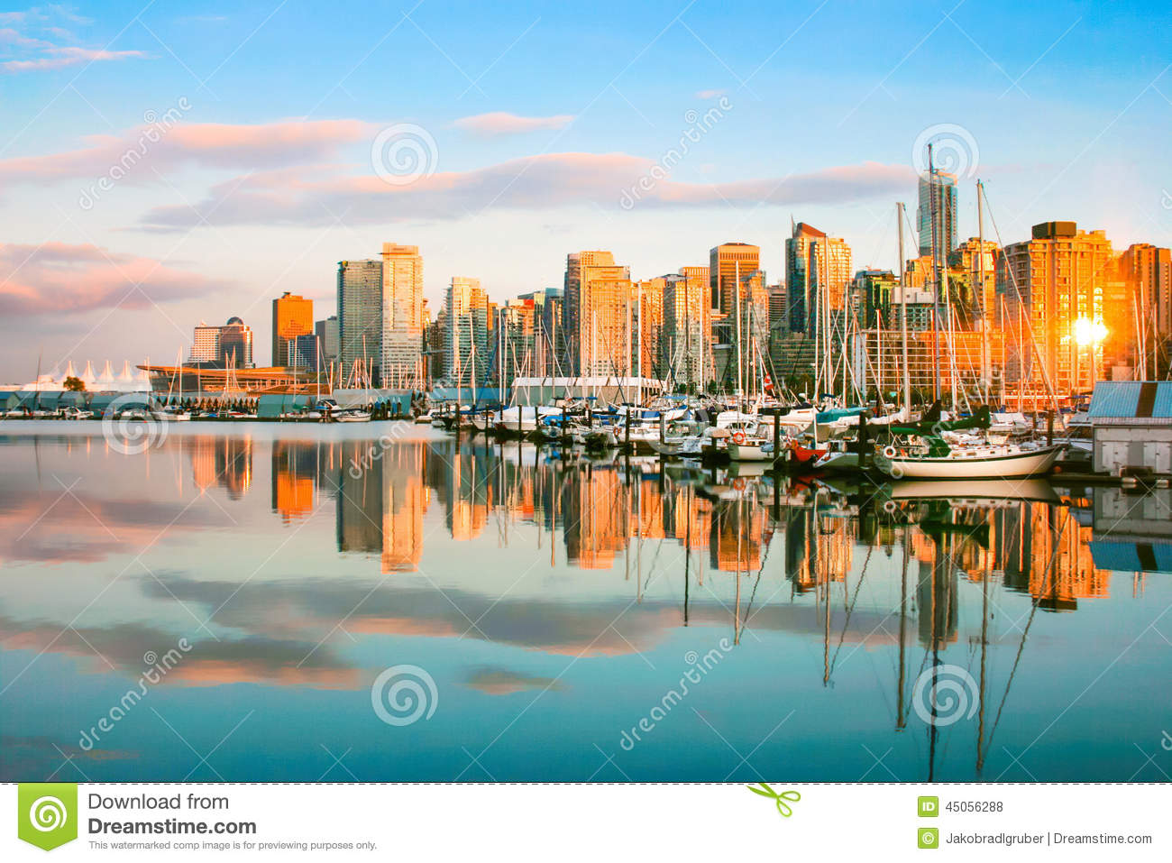 Vancouver skyline at sunset, BC, Canada