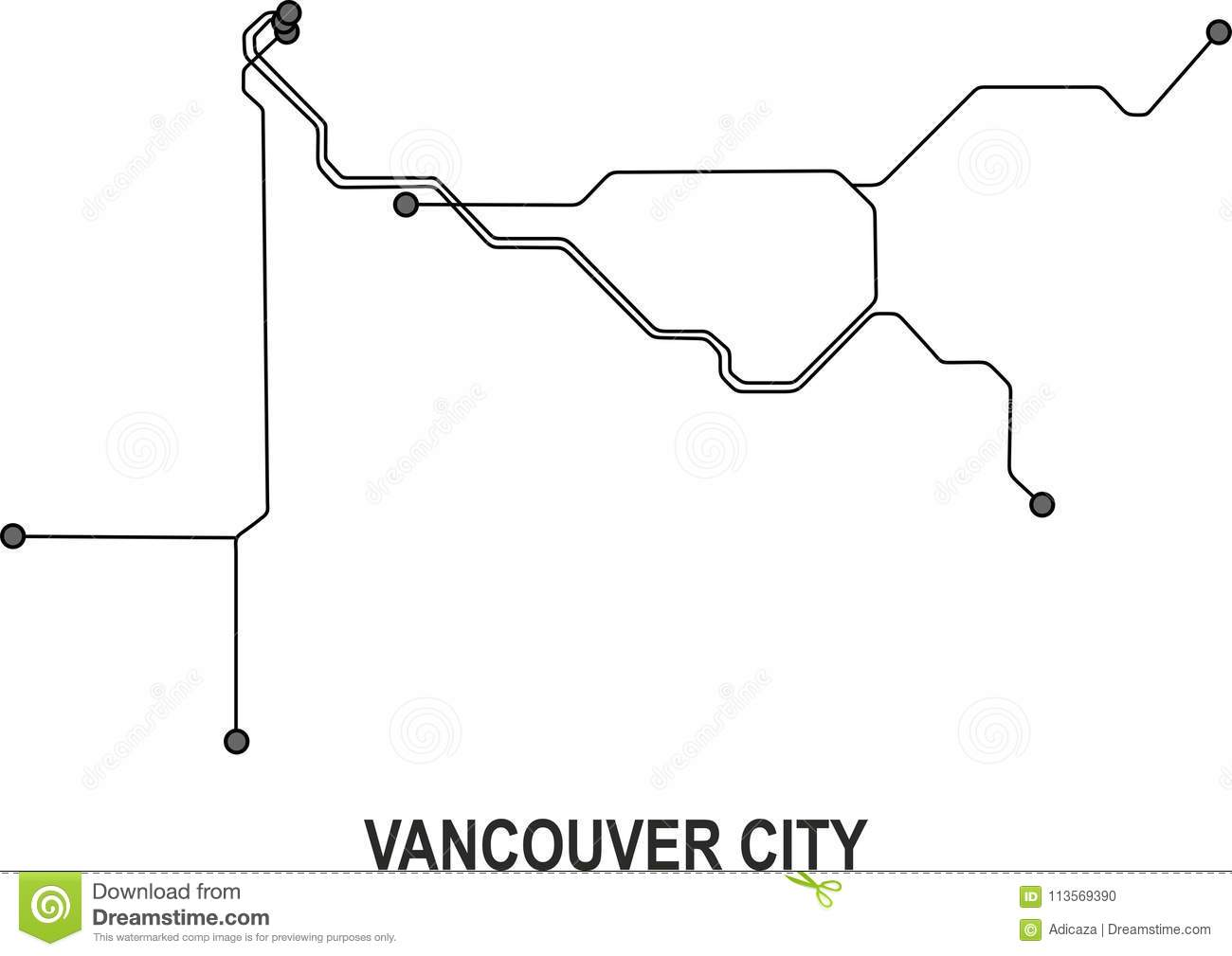 Vancouver Subway Map.Vancouver City Map Stock Vector Illustration Of Subway 113569390