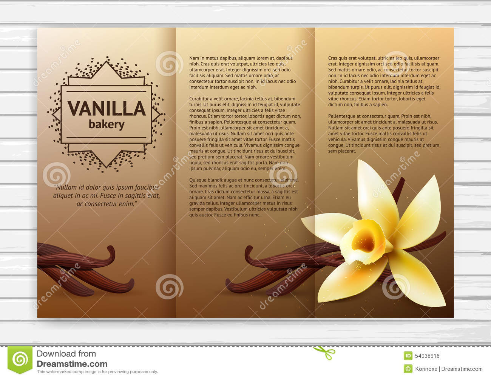 Vanilla Bakery Flyer Stock Vector - Image: 54038916