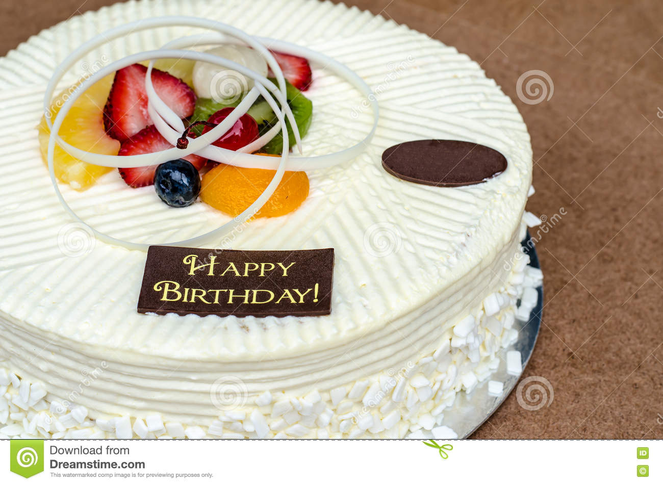 Vanilla Cake And Fruit With Words Happy Birthday