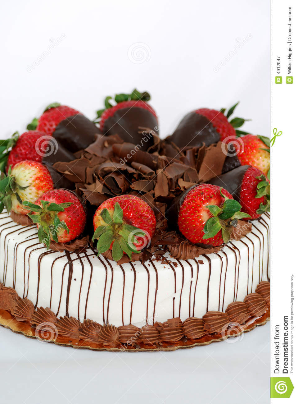 Vanilla Cake With Strawberries Stock Image Image Of