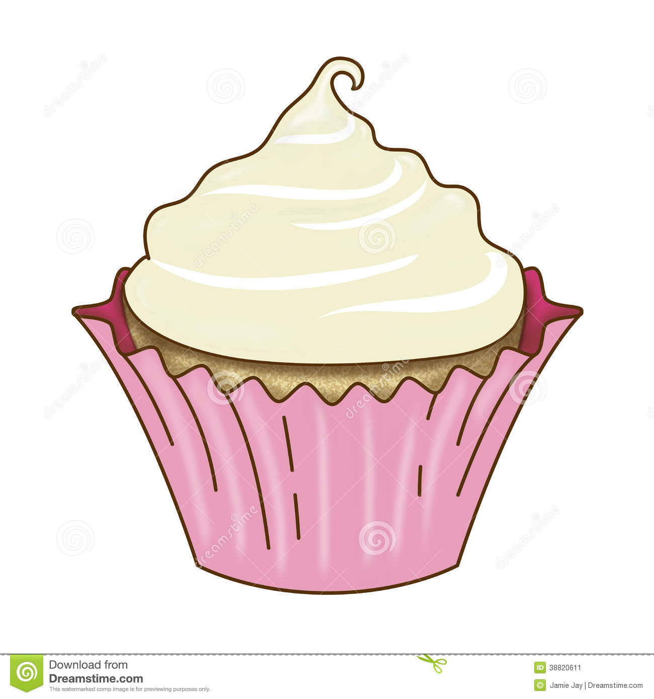 Cake Icing Clip Art : Vanilla Cupcake And Icing Pink Wrapper Stock Illustration ...
