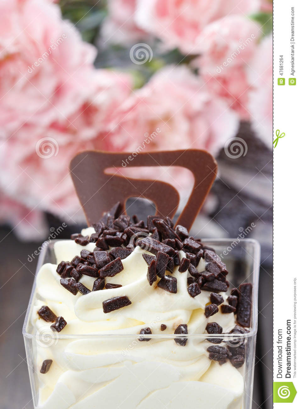 Vanilla Ice Cream With Chocolate Sprinkles Stock Photo ...