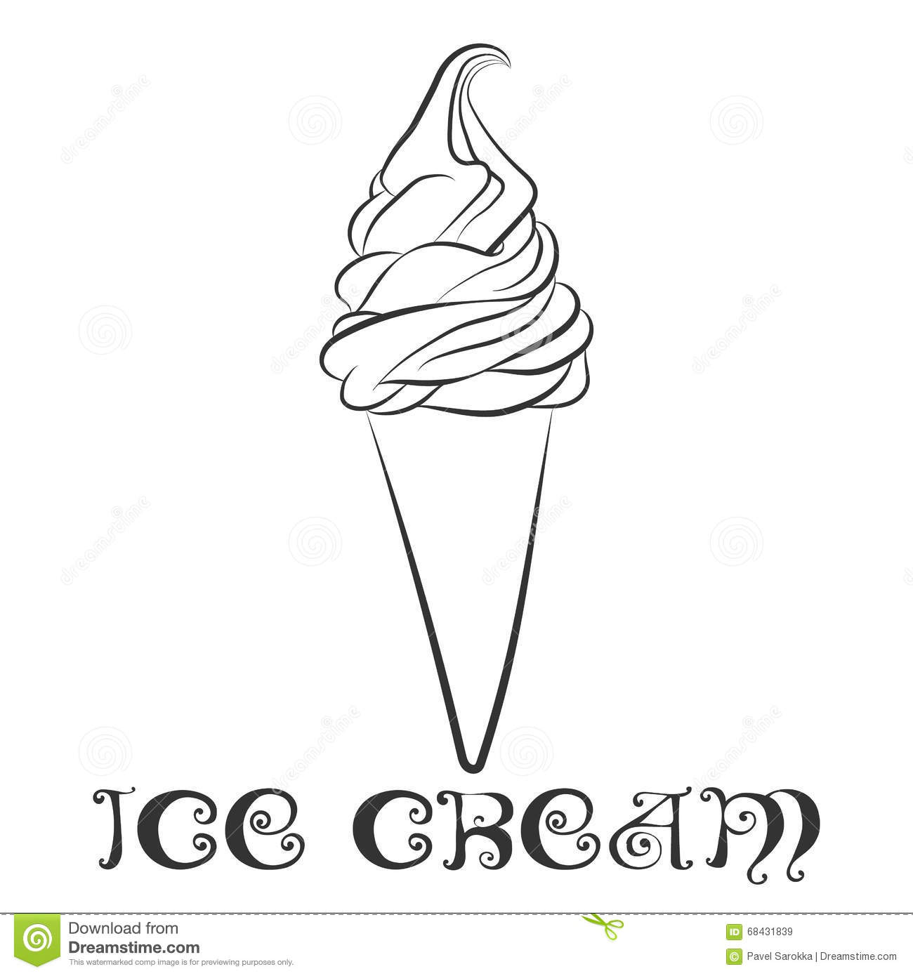 image relating to Ice Cream Template Printable identified as Vanilla Ice Product Cone Design and style Template Inventory Vector