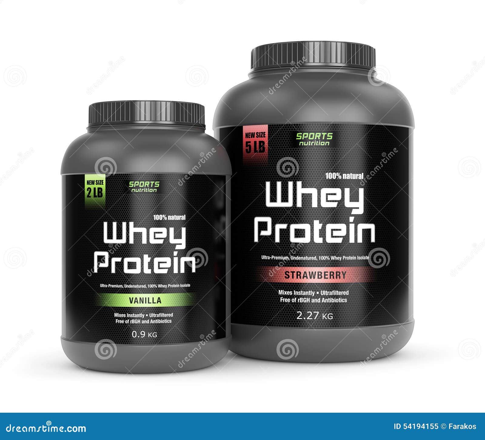 Vanilla And Strawberry Taste Protein Stock Photo