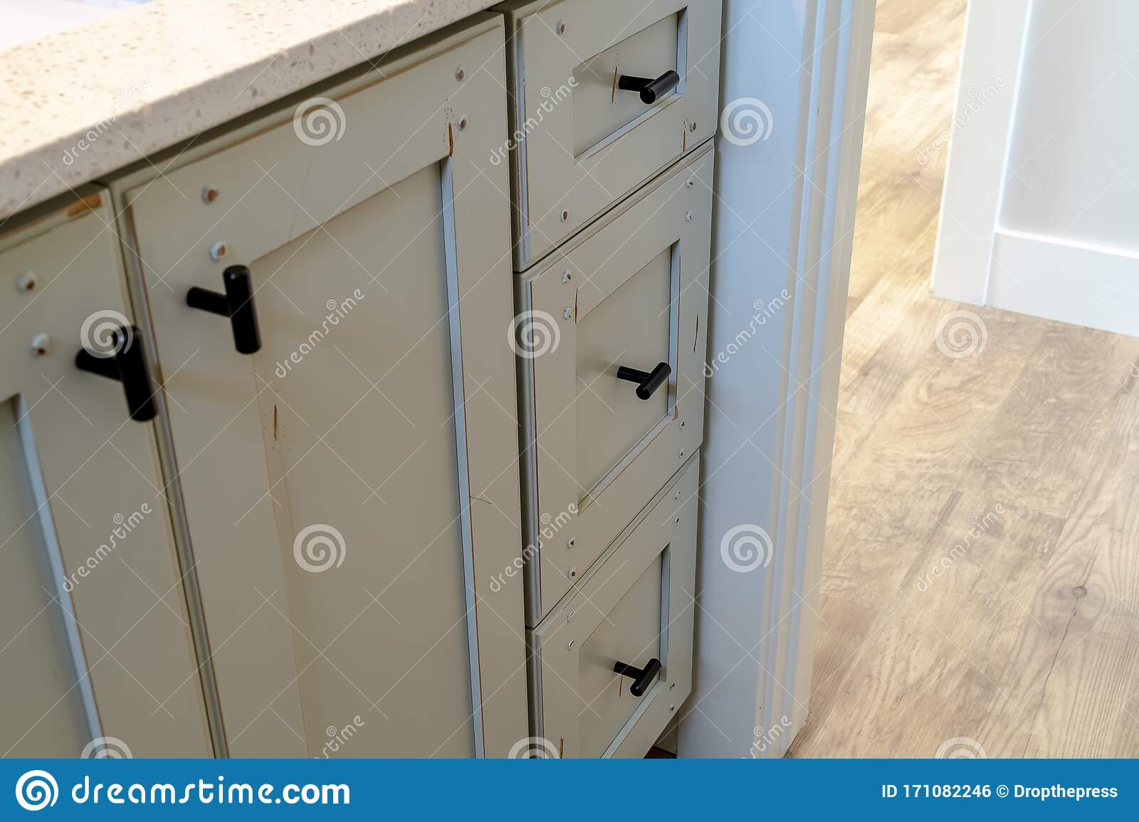 Vanity Cabinet With Black Handles And White Countertop Inside Bathroom Stock Photo Image Of Real Wooden 171082246