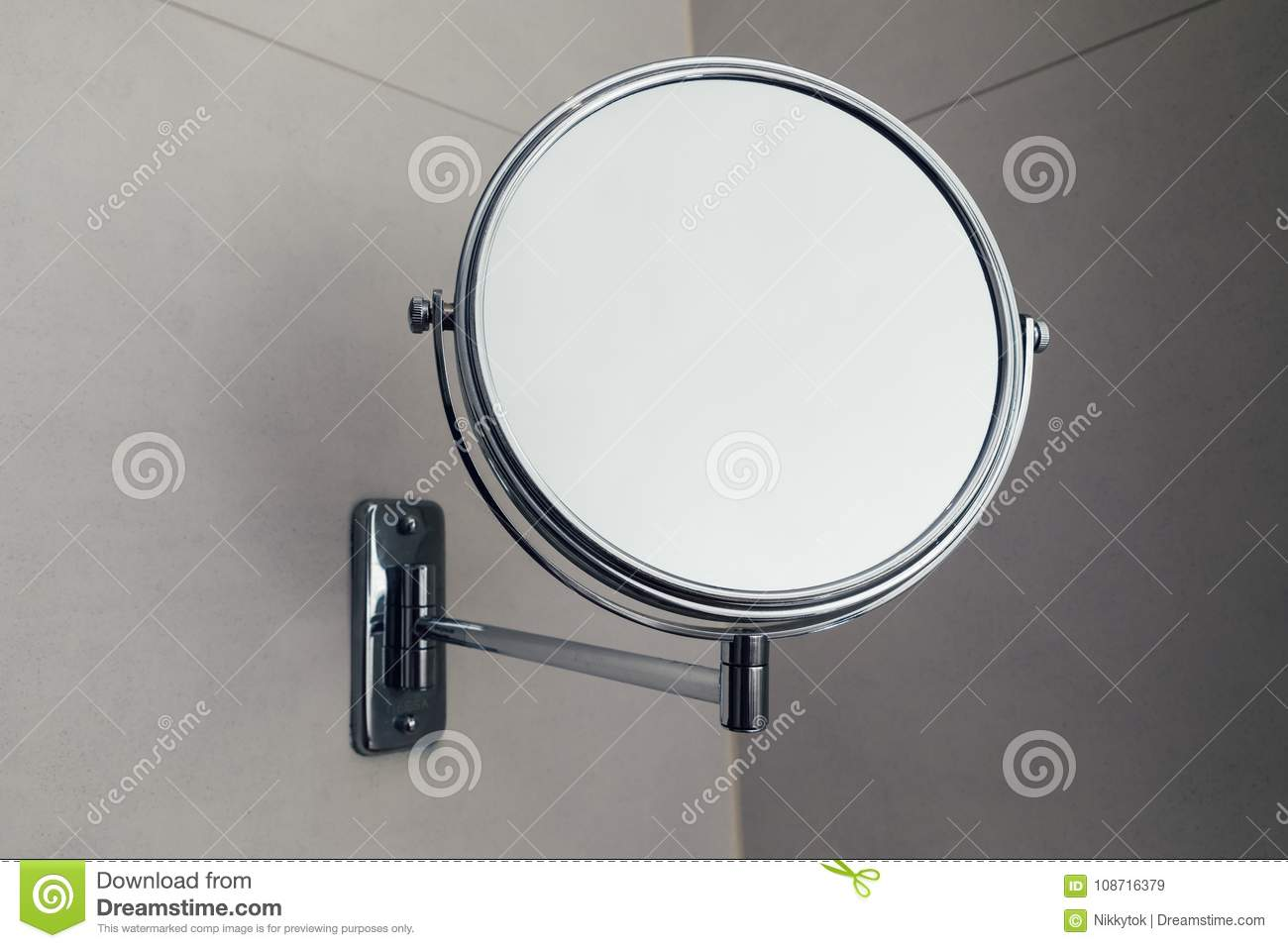 Vanity Round Mirror In Bathroom, Closeup View Stock Image - Image of ...