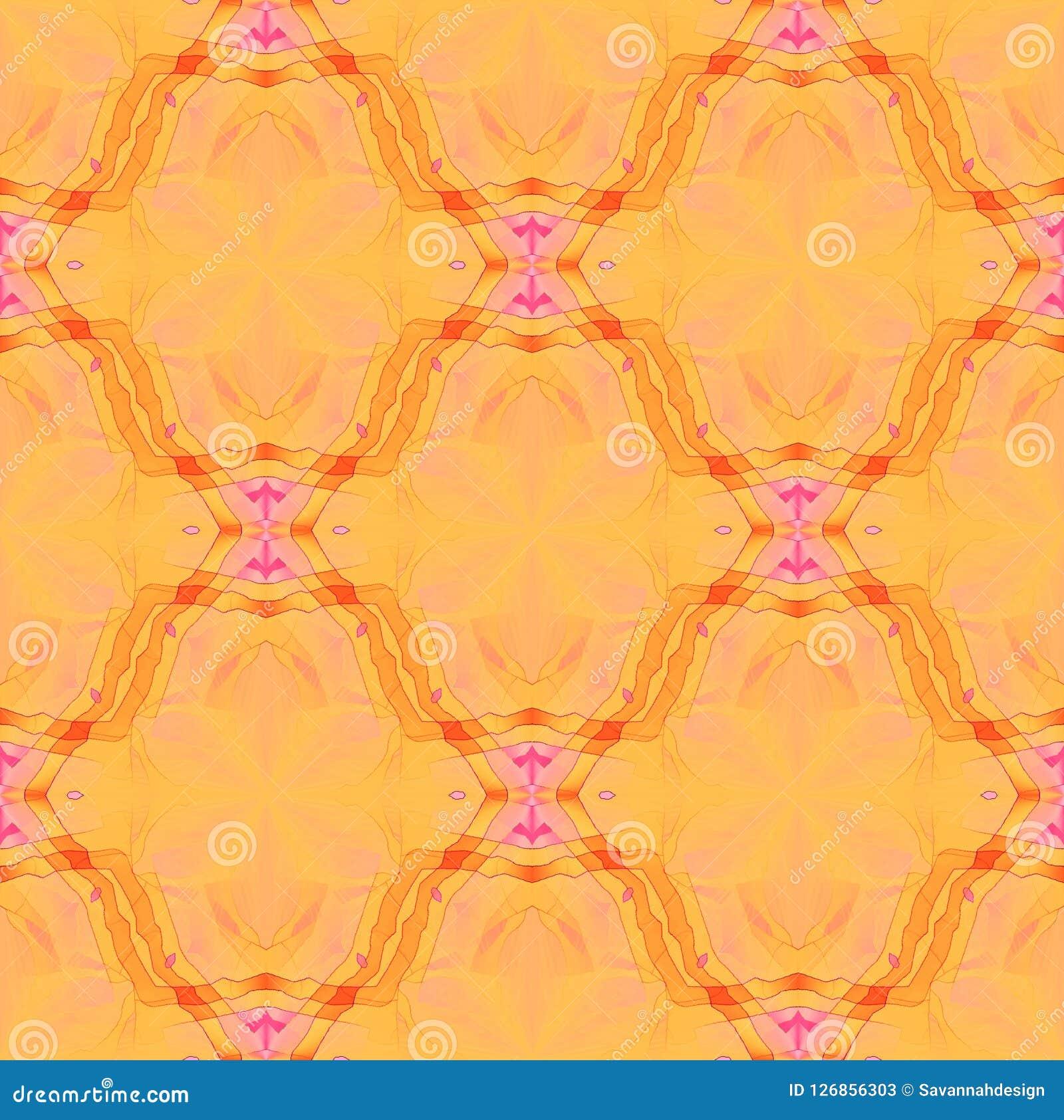 Vanliga sömlösa blom- retro prydnader gulnar orange rosa violett rött suddigt