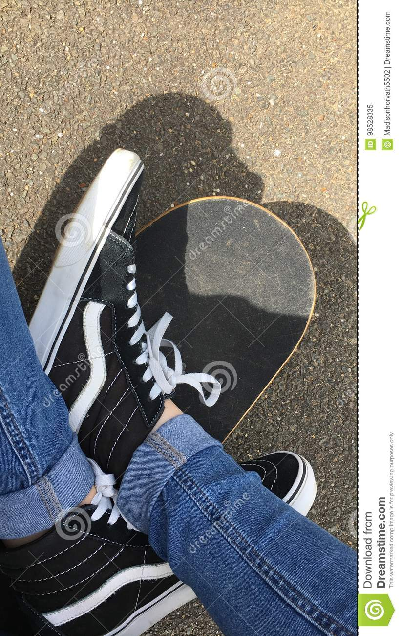Vans on Skateboard stock image. Image of grunge 13aa6709a