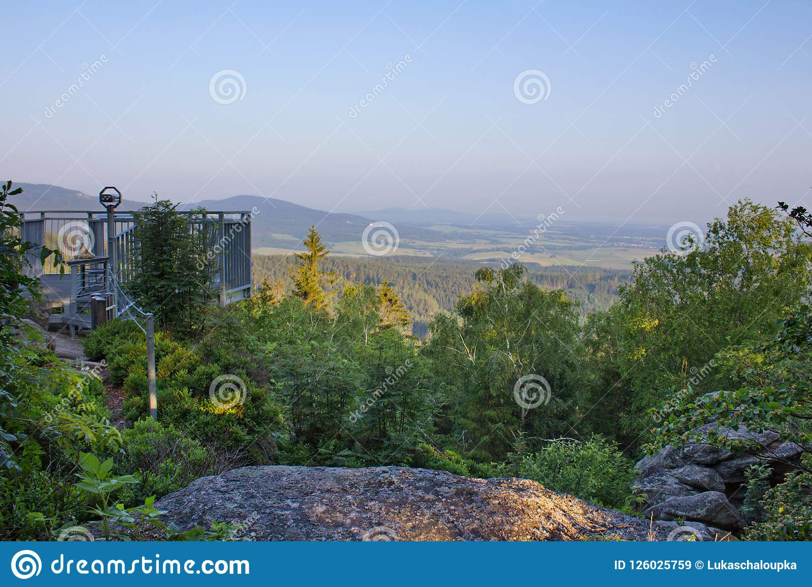 Vantage Point Mandelstein With Trees And Blue Sky Austria Stock