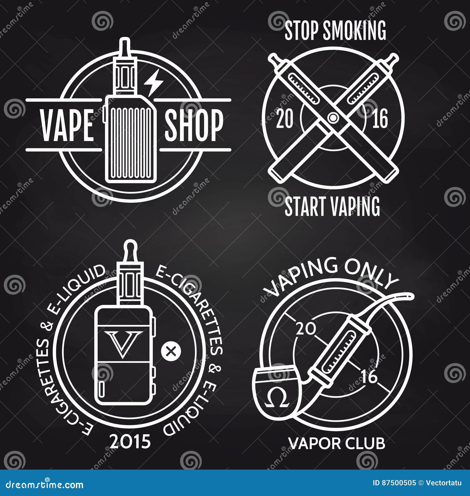 Vape商店在黑板的商标设计