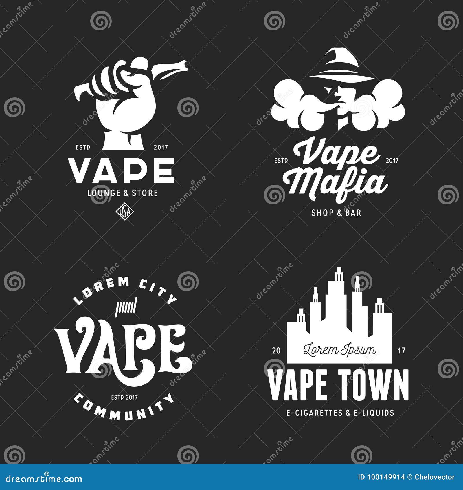 Vape商店标记象征徽章被设置 传染媒介葡萄酒例证