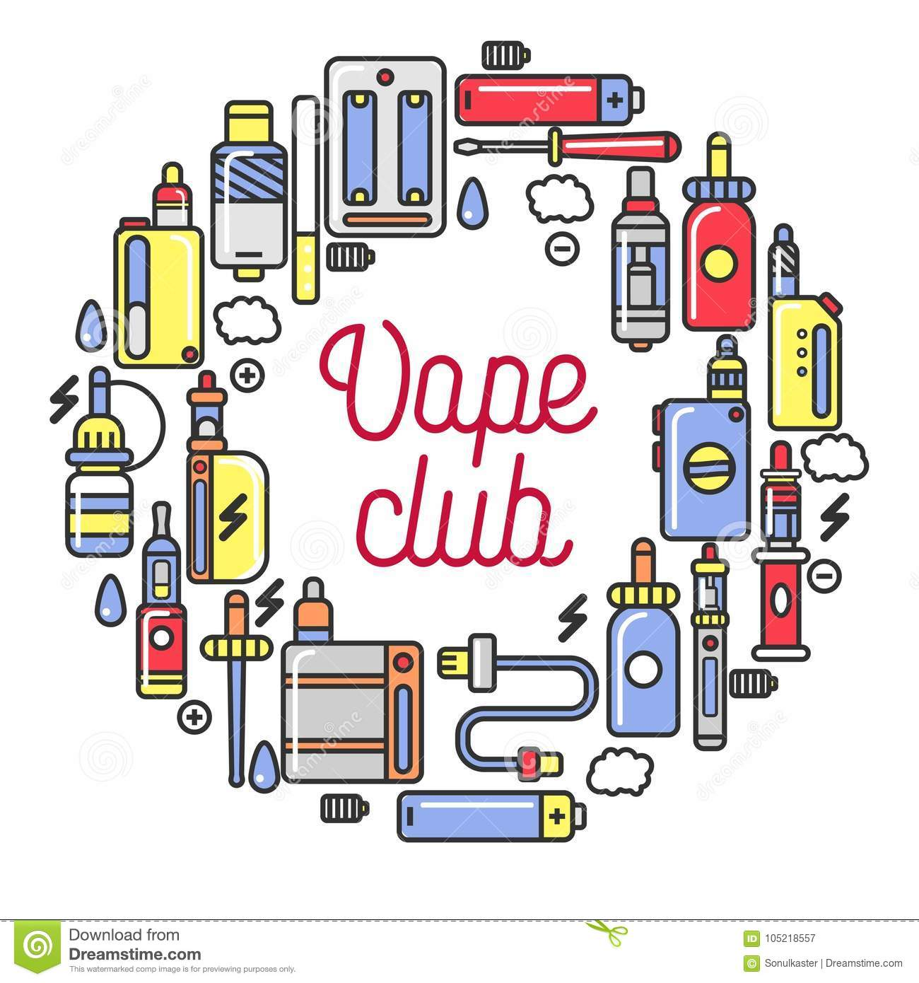Vape Club Promotional Logotype With Devices For Smoking In