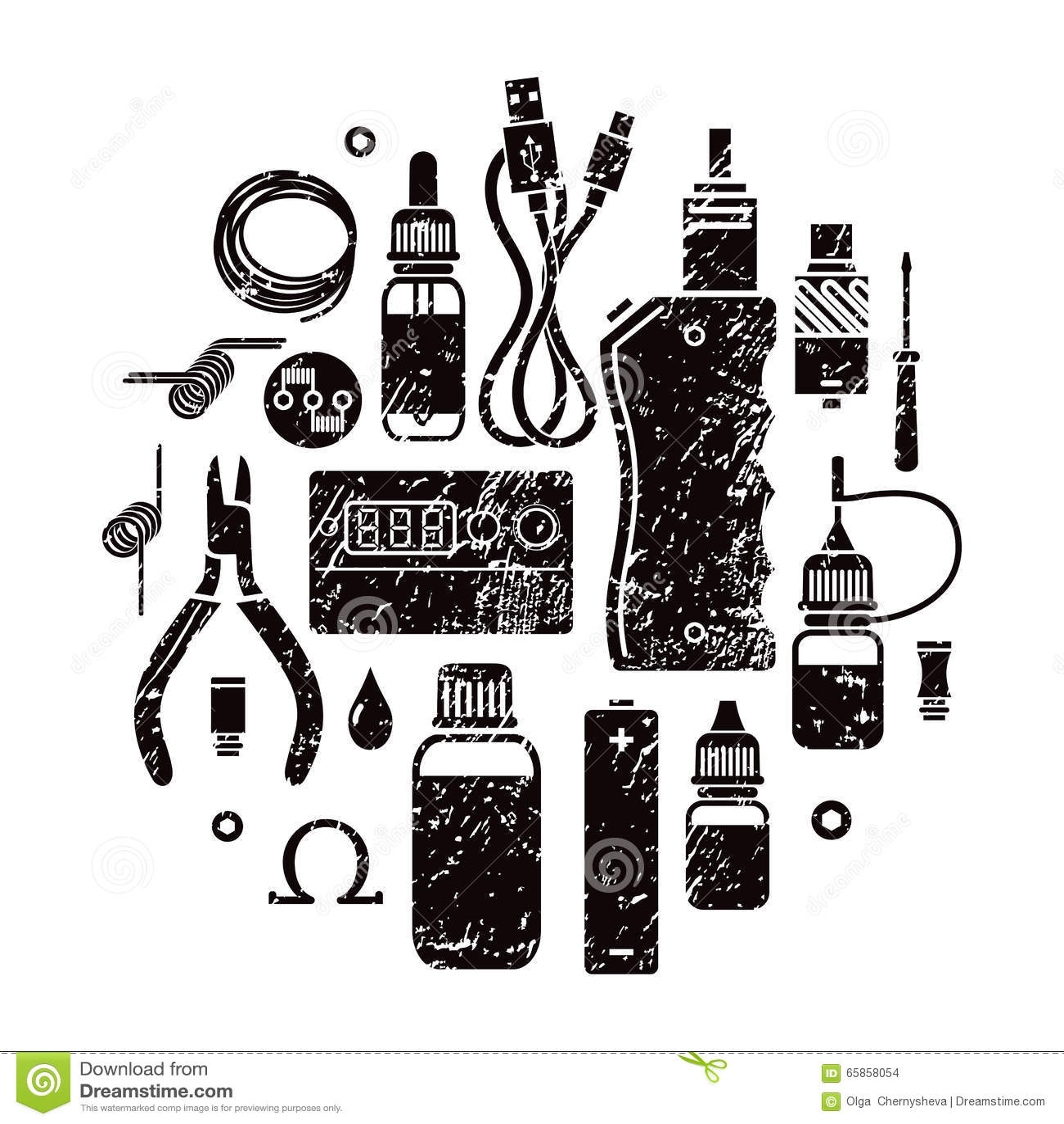 vape icons set vector illustration