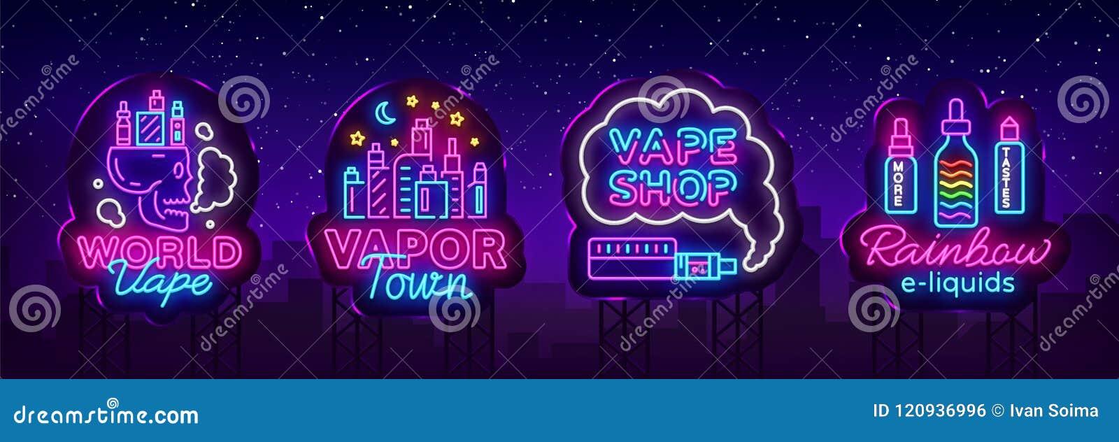 Vape neonowego znaka kolekci sklepowy wektor Vaping sklepu logowie ustawiają emblemat Neonowego, Swój Vape sklepu pojęcia opary m