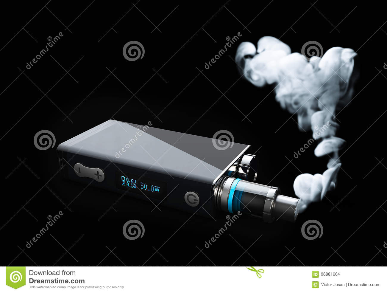 vape with white fire smoke cloud. 3d illustration on black background