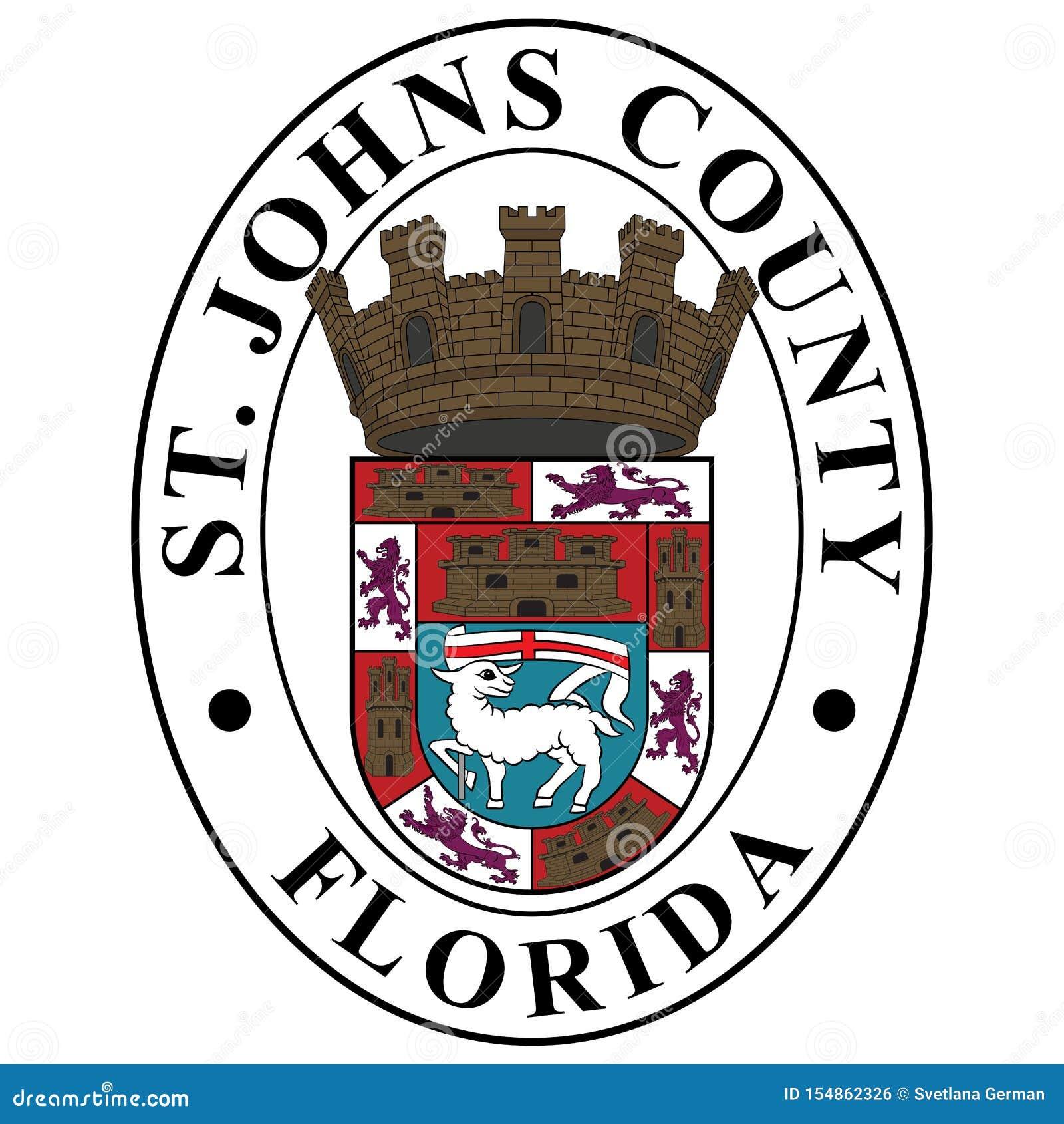 Vapensköld av det St Johns länet i Florida, USA