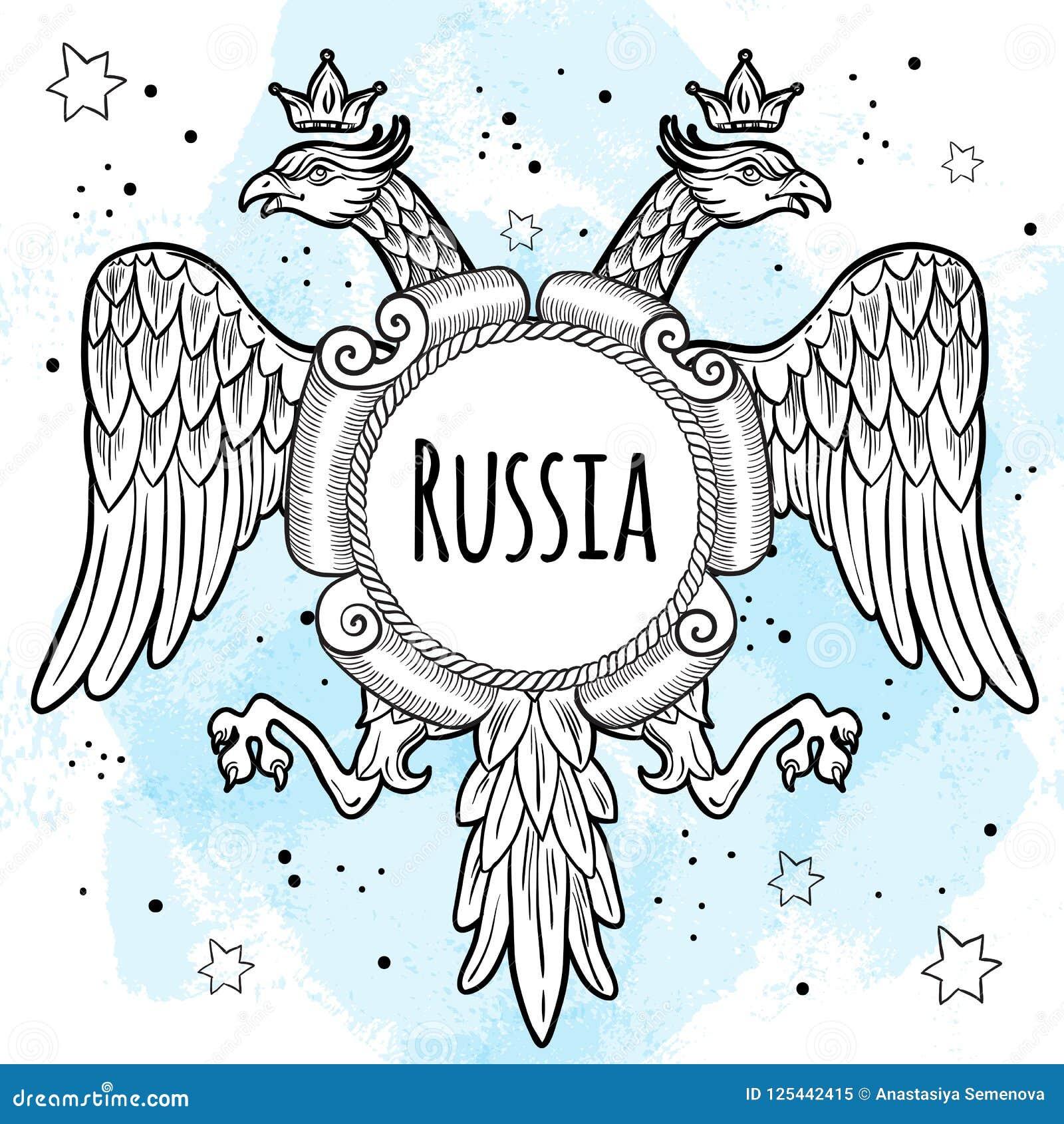 Vapensköldar av den ryska välden Krönade dubblett-hövdade örnar Hand-dragen isolerad vektorillustration Ryskt nationellt motiv