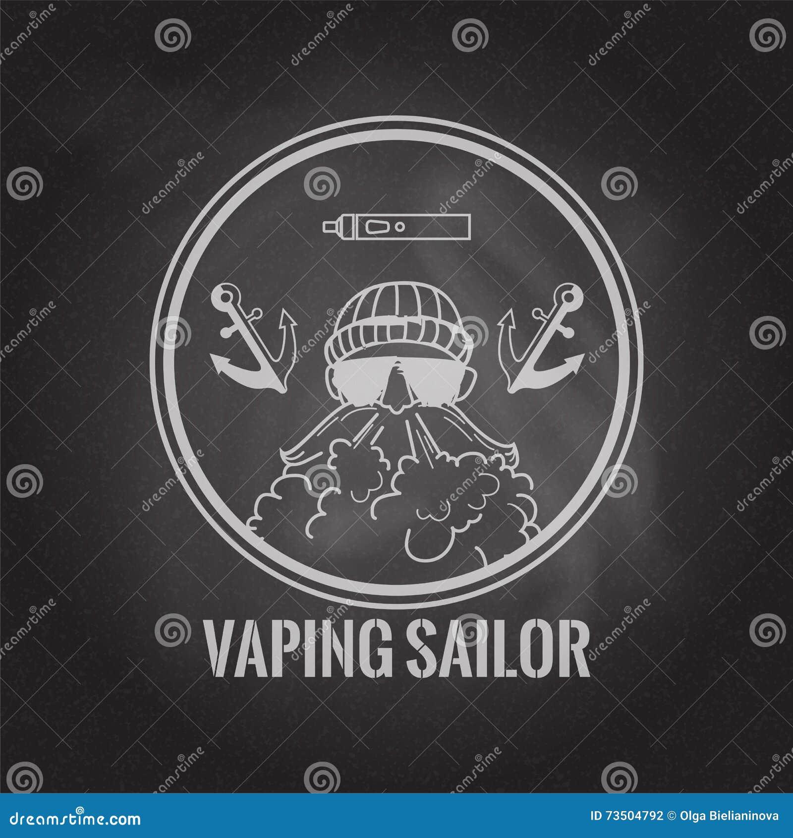 Vaping żeglarza okręgu logo z vaporiser i kotwicy na chalkboard tle