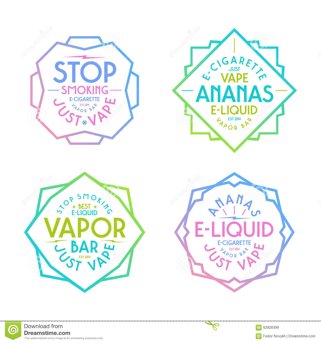 Vapor Bar And Vape Shop Labels Stock Vector