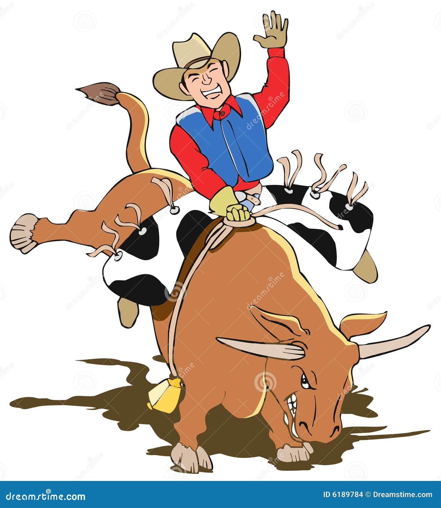 Vaqueiro Bull Rider Cartoon Imagens de Stock - Imagem: 6189784