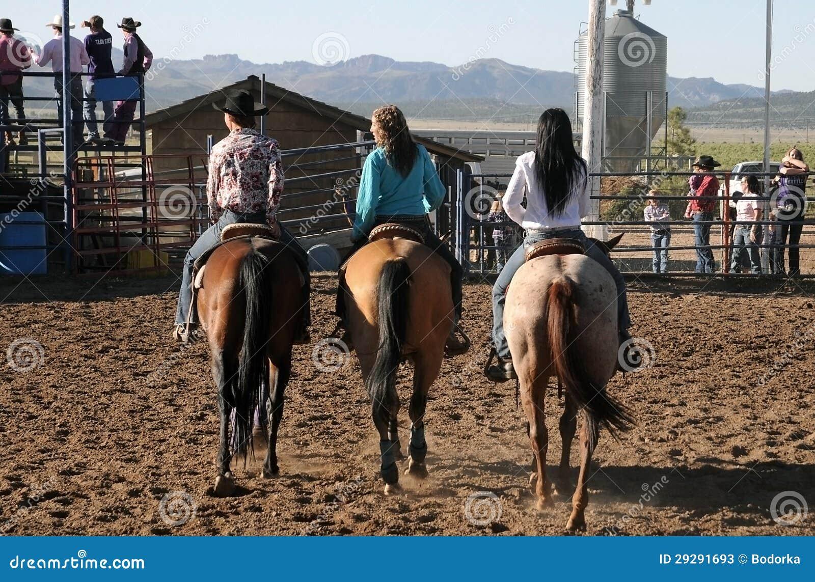 Vaqueras en caballos foto de archivo editorial Imagen de granjero