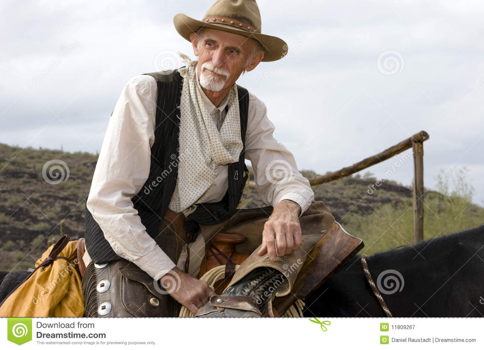 Vaquero americano occidental del viejo Cowhand