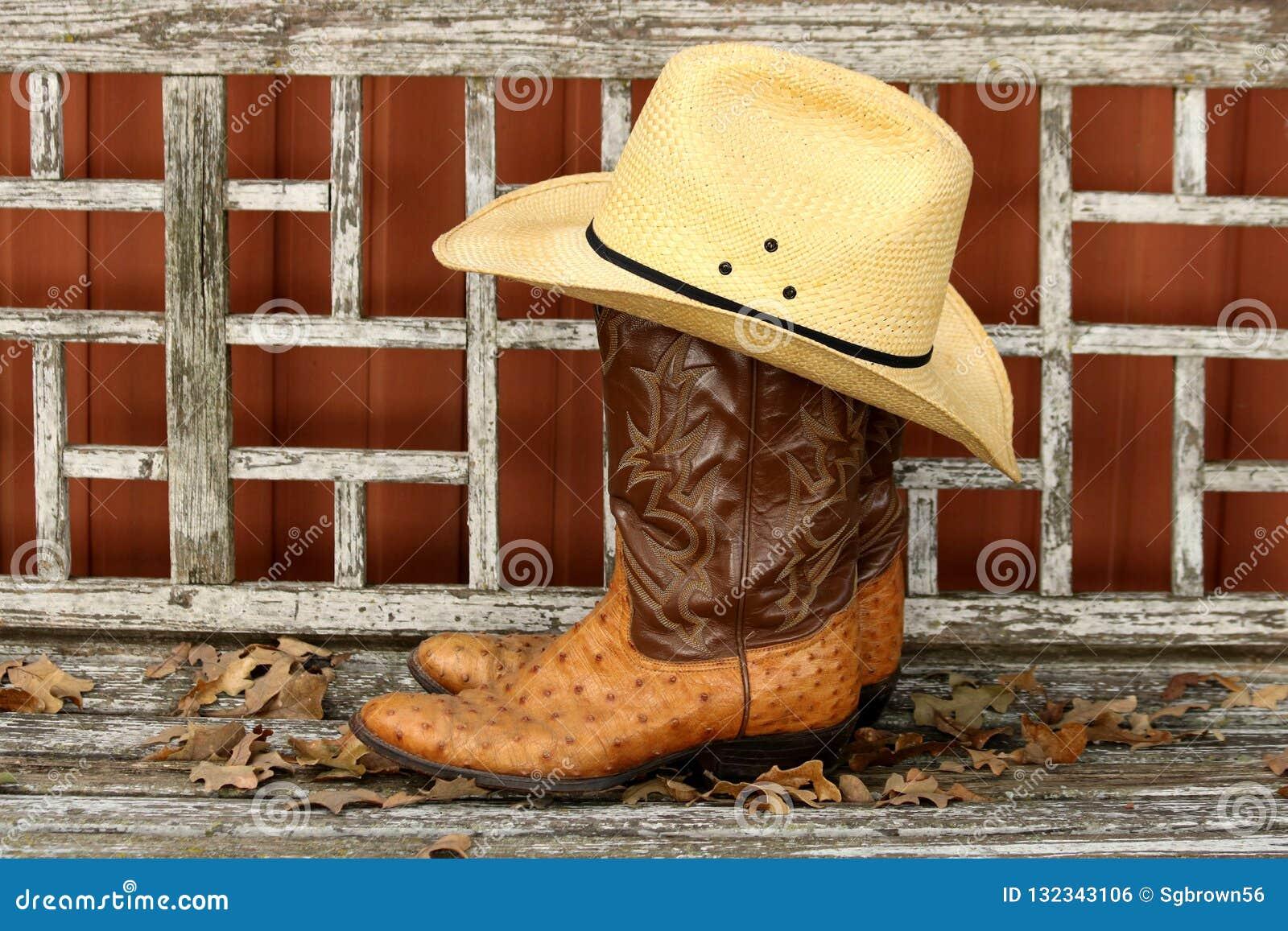 Vaquero Boots Y Sombrero En Banco De Madera Foto de archivo - Imagen ... 420270b4caa9