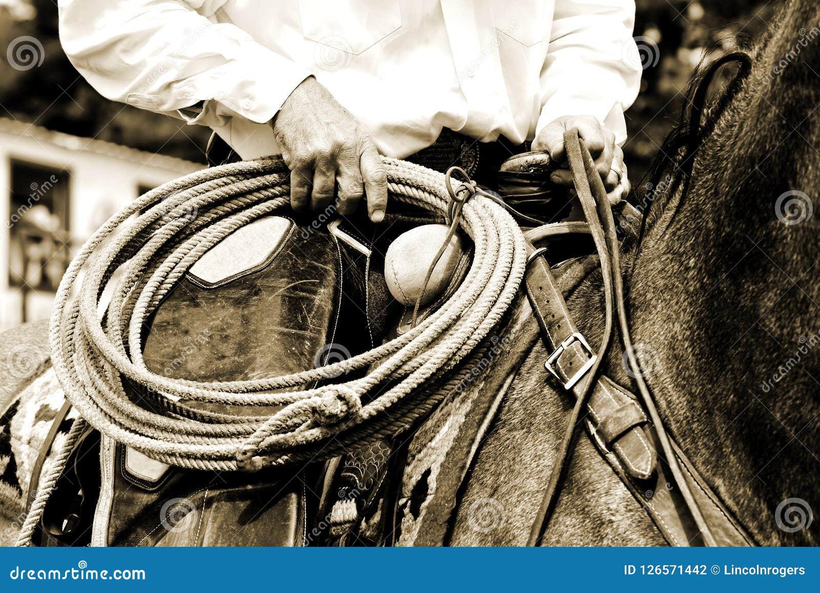 Vaquero de trabajo Riding con la cuerda - tinte de la sepia