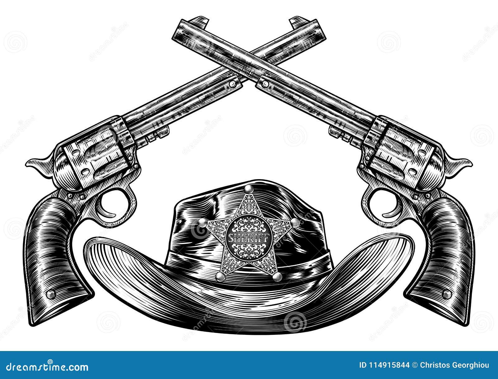 Vaquero Hat Del Sheriff Y Armas Con La Insignia De La